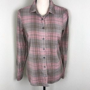 J.Crew Pink & Gray Plaid Long Sleeve Top Size S